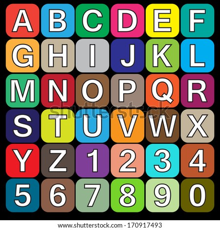 White alphabet on color squares. eps10