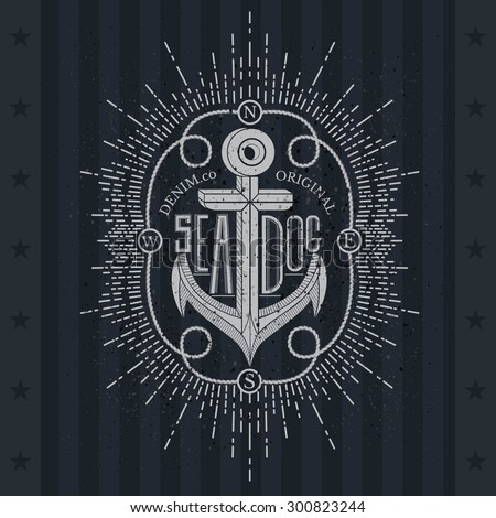 White Anchor On Blackboard. Vintage Label, Grunge Background. Typography Elements - stock vector