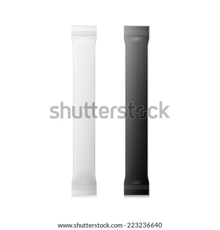 White And Black Blank Foil Packaging Plastic Package. Sachet, Sweets Or Candy Pack.  - stock vector