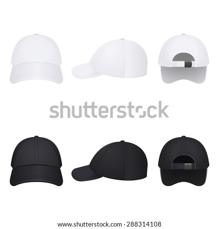white and black caps on a white background - stock vector