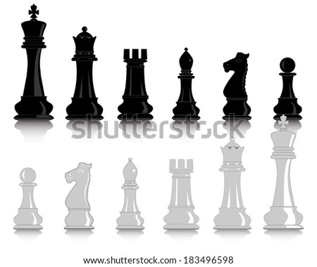 white and black chess pieces on a white background