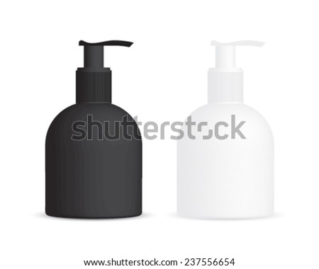 white and black cosmetic bottles  - stock vector