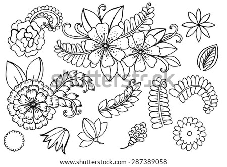 White and black doodle floral set. Design elements - stock vector