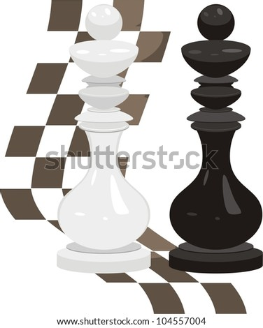 White and black king. Chess pieces. Vector - stock vector