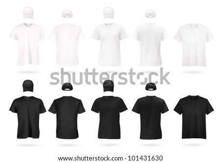 White and black men's t-shirt template. - stock vector
