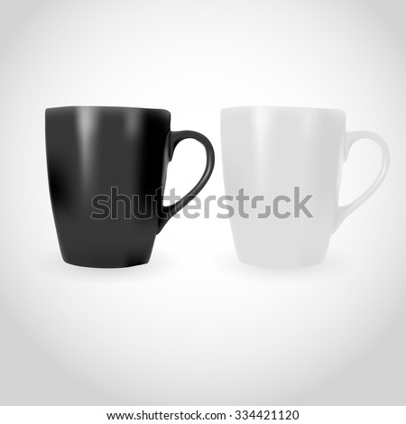 White and Black Photorealistic Cup illustration for mock-ups and branding.  - stock vector