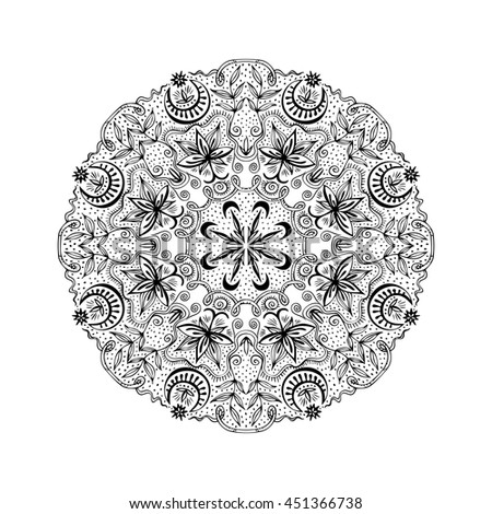 White and black round lacy tantric ornament. Hand drawn zenart with lotuses, moons and plants. Vintage circle design element. Spirituality and magic concept. Vector illustration. - stock vector