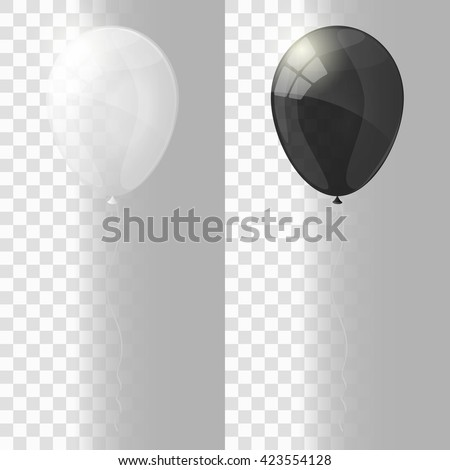 White and black shiny glossy balloons. Transparent version of balloons.  Vector illustration. - stock vector