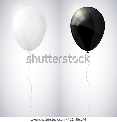 White and black shiny glossy balloons. Vector illustration. - stock vector