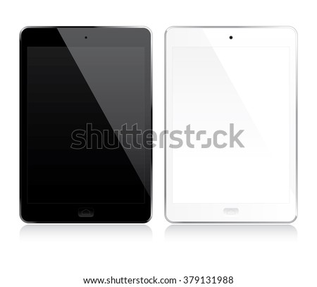 White and black tablets set - stock vector