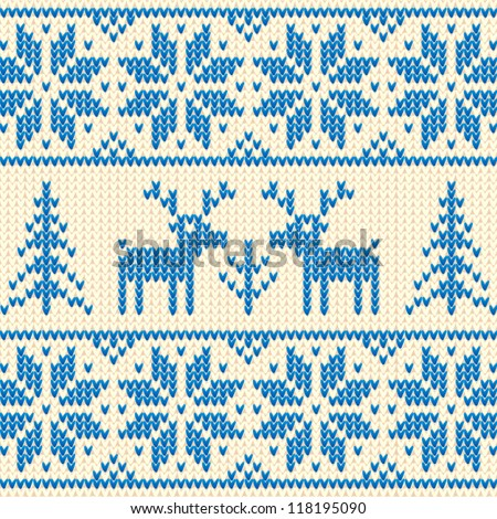 White and blue Christmas ornamental embroidery with deers, vector seamless background - stock vector