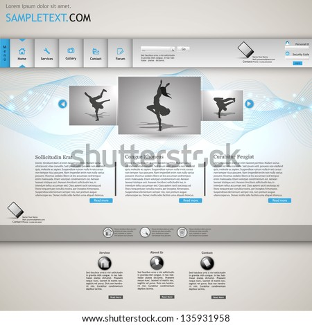 White and Blue, lighting, minimalistic website template - stock vector