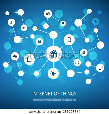 White And Blue Network Design Concept With Icons - Internet Of Things - stock vector