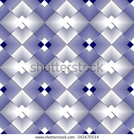 White and blue rhomboid regular patterns in inverse repeating design  - stock vector