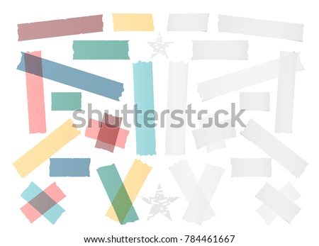 White and colorful different size adhesive, sticky tape, paper pieces with stars.