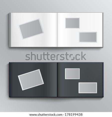 White and dark blanks of photo albums. Vector illustration - stock vector