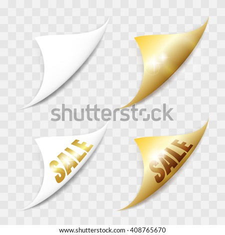 White and gold paper stickers. Set of page curls with shadow. Elements for advertising and promotional isolated on transparent background. - stock vector
