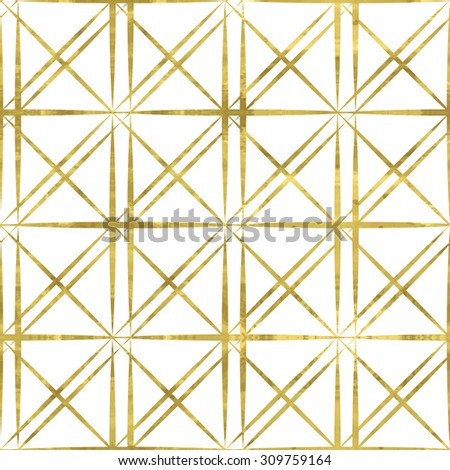 White and gold  pattern. Abstract geometric modern background. Easy editable vector illustration.Shiny backdrop. Texture of gold foil. Classic  wallpaper. - stock vector