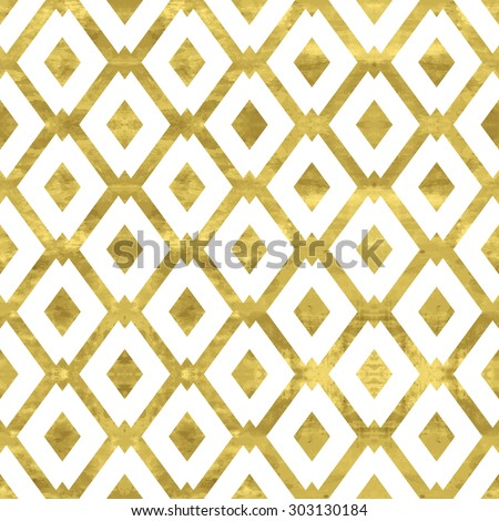 White and gold  pattern. Abstract geometric modern background. Vector illustration.Shiny backdrop with  rhombus. Texture of gold foil. Art deco style. - stock vector