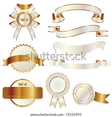 white and gold ribbon - stock vector