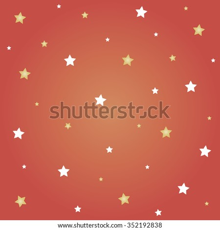 White and gold stars with red background for Christmas festival. - stock vector