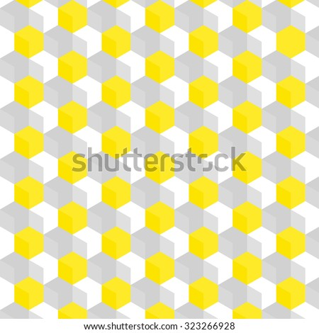White and gray cubic texture pattern with accentuated yellow cubes - stock vector