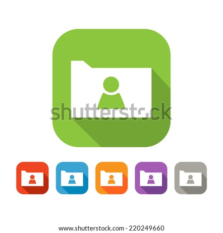 White and green square flat icon of folder with person sign. Color set in red, blue, orange, purple and grey colors - stock vector