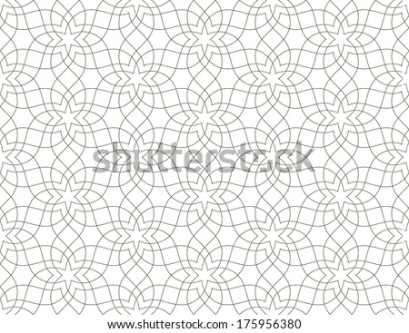 White and grey Ornamental seamless pattern. Traditional Arabic design.