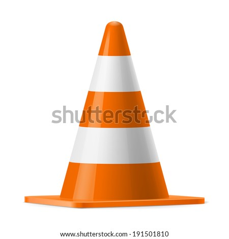 White and orange traffic cone.  Sign used for road safey during construction or accidents - stock vector