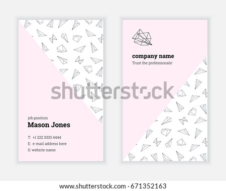White pink doublesided business card template stock vector 671352163 white and pink double sided business card template us standard size 2x35 reheart Choice Image