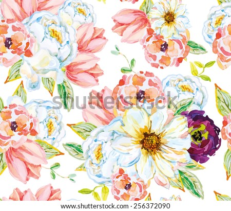 White and pink flowers with green leaves on the white background. Watercolor seamless pattern with flowers. Roses, tulips and dahlia. - stock vector