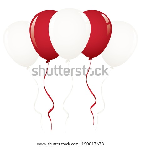 white and red balloon ribbon - stock vector