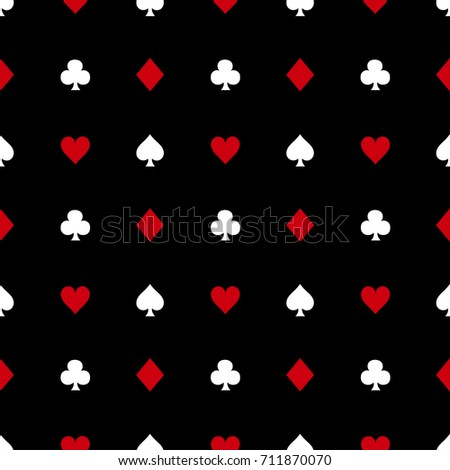 White and Red Card Suits on Black Background. Vector Illustration.