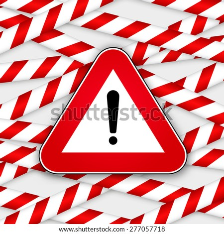 White and red caution striped tapes with red hazard warning attention sign. Vector illustration. - stock vector