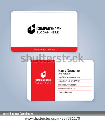 White and red modern business card template, Illustration Vector 10 - stock vector