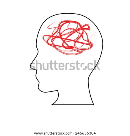 white and red silhouette symbolizing Confusion  - stock vector