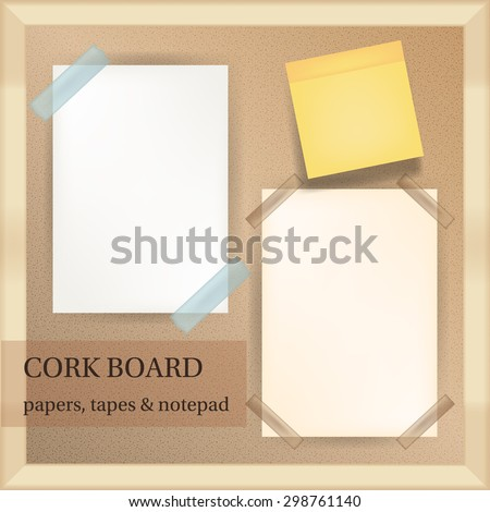 white and yellow papers with transparent tapes and note pad on cork board with wood frame vector - stock vector