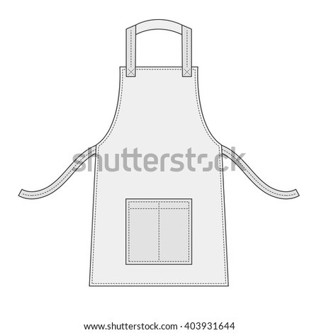 White apron with outsets and pocket - stock vector