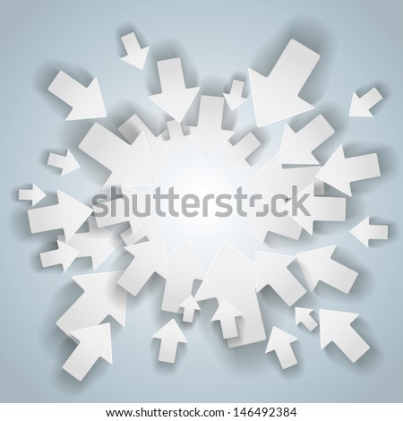 White arrows with centre on the grey background. Eps 10 vector file. - stock vector