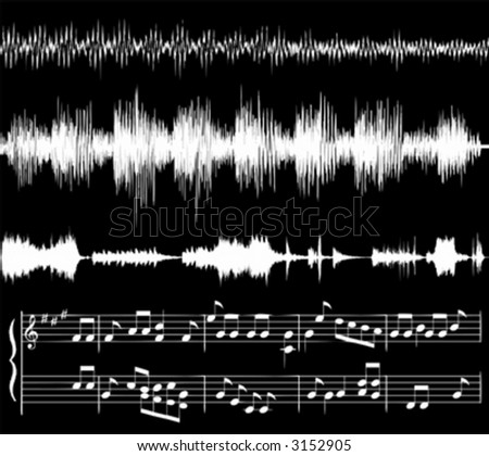 white audio waveforms and musical notes against black (also available in jpg) - stock vector