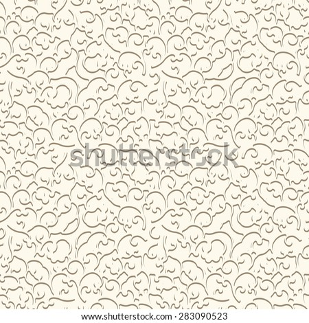 White background, vintage curly ornament, vector seamless pattern
