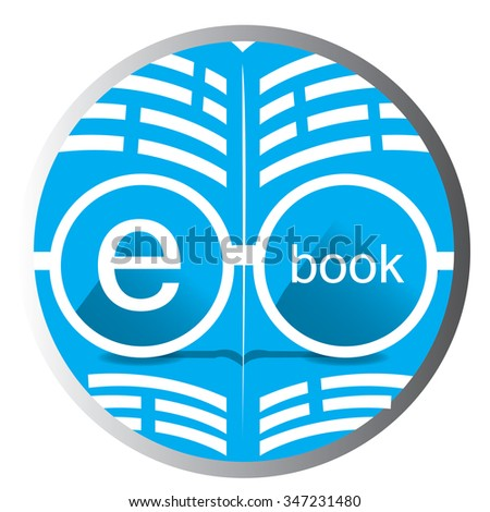 White background with a badge and an e-book icon - stock vector
