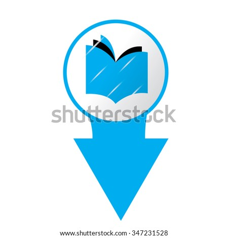 White background with a blue e-book icon - stock vector
