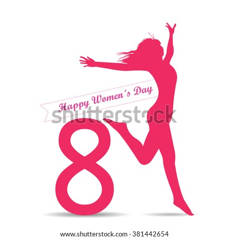White background with a silhouette of a woman and text for women's day - stock vector