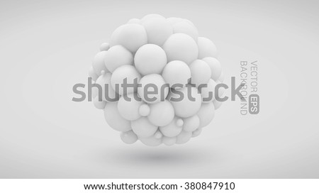 White background with abstract three-dimensional shape of the balls