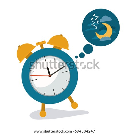 white background with alarm clock and cloud callout dream of night with cloud and moon vector illustration