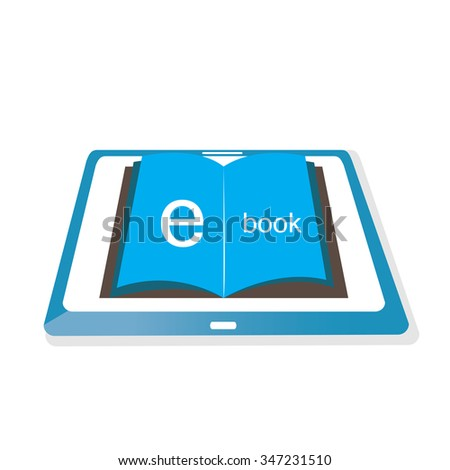 white background with an isolated e-book icon - stock vector