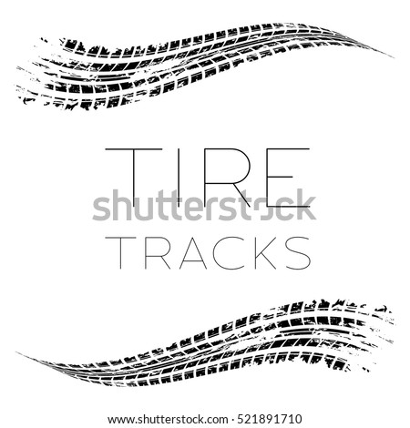 White background with black tire tracks and sample text