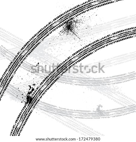 White background with black tire tracks. eps10 - stock vector