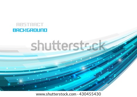 White background with blue abstract technology pattern and glitter. Editable vector illustration. - stock vector